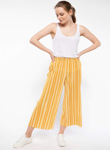 DeFacto Çizgili Culotte Pantolon Sarı
